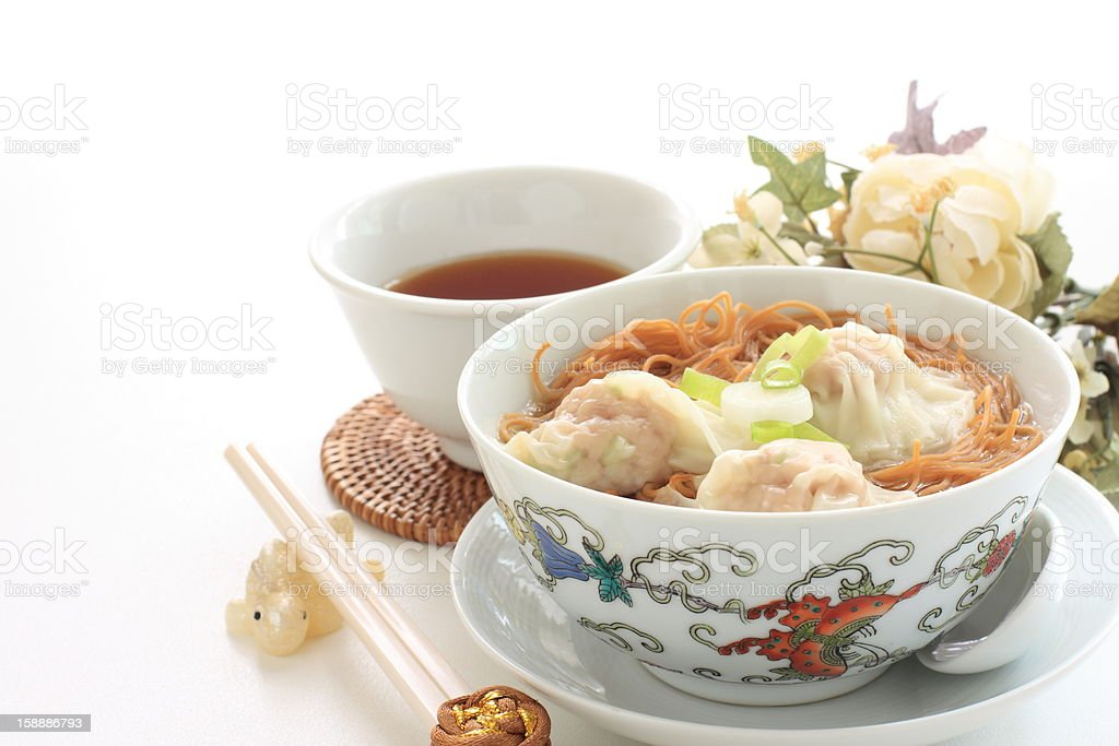 chinese cuisine, wonton soup noodles royalty-free stock photo