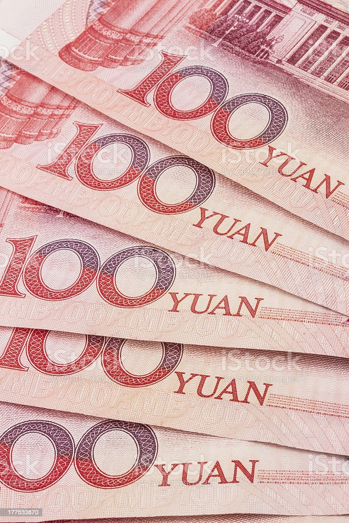 Chinese currency - 100 yuan stock photo