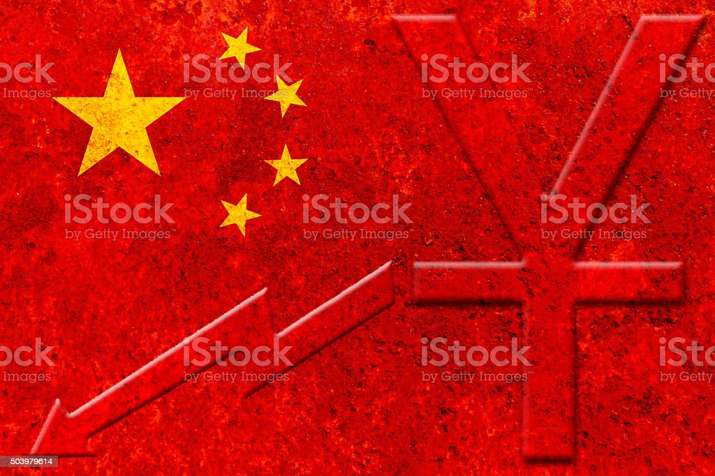 chinese currency (yuan) and devaluation graph on the rustic chin stock photo