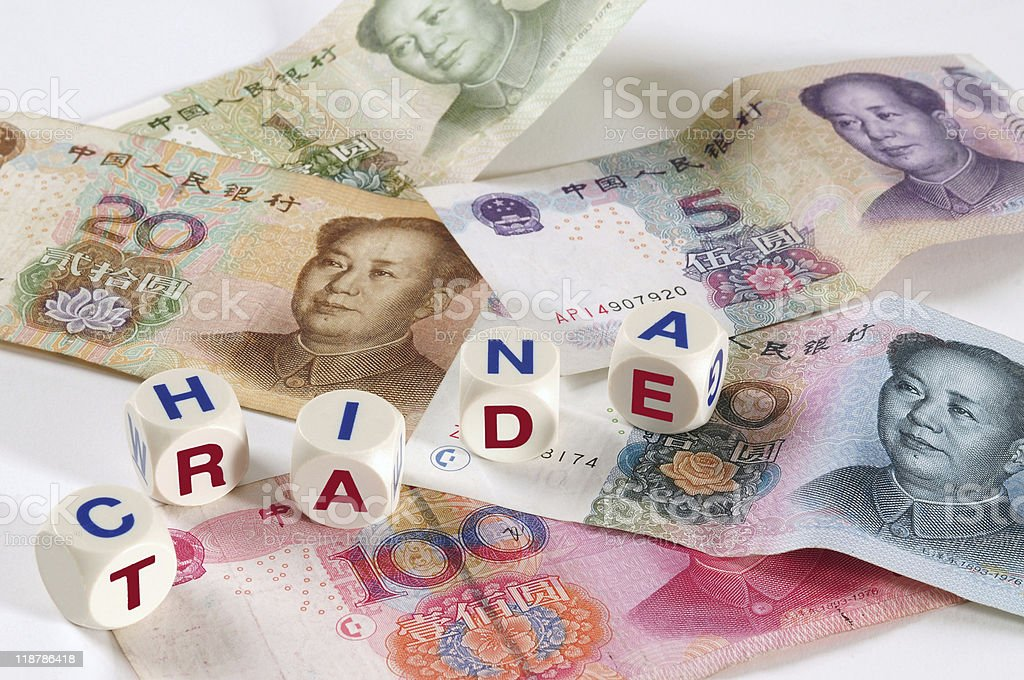 Chinese currency. Business and finance concept. stock photo