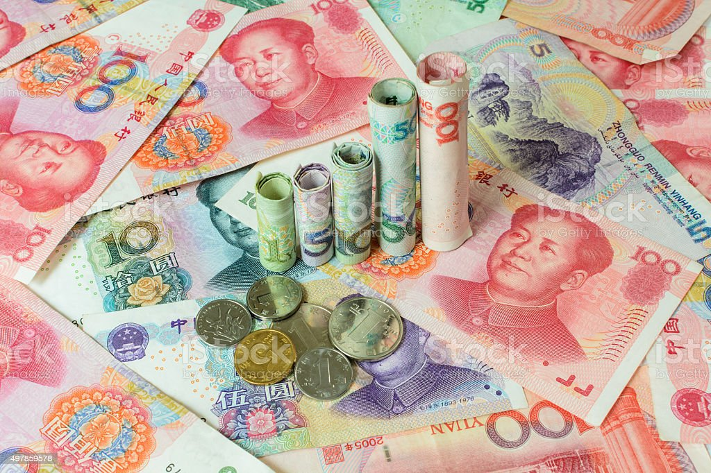 Chinese currency forming a graph, stock photo