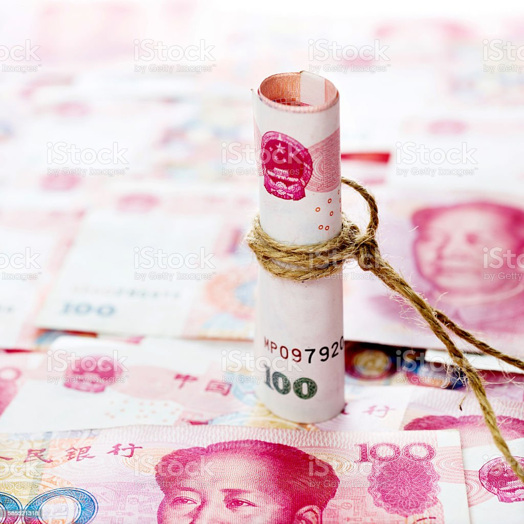 Chinese currency rolled stock photo