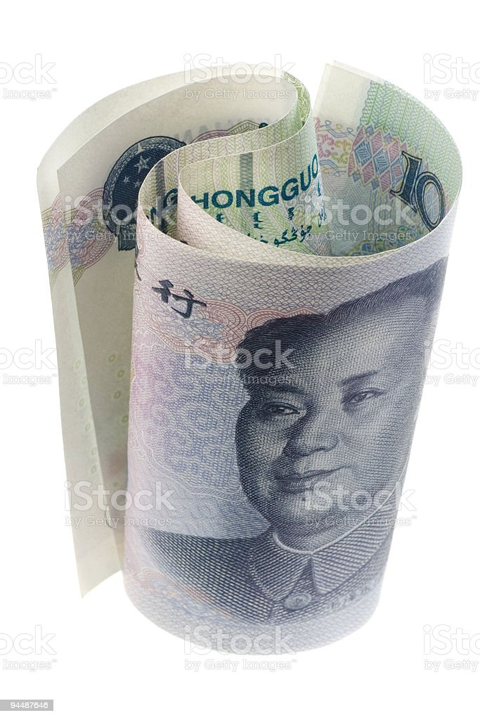 Chinese currency rolled royalty-free stock photo