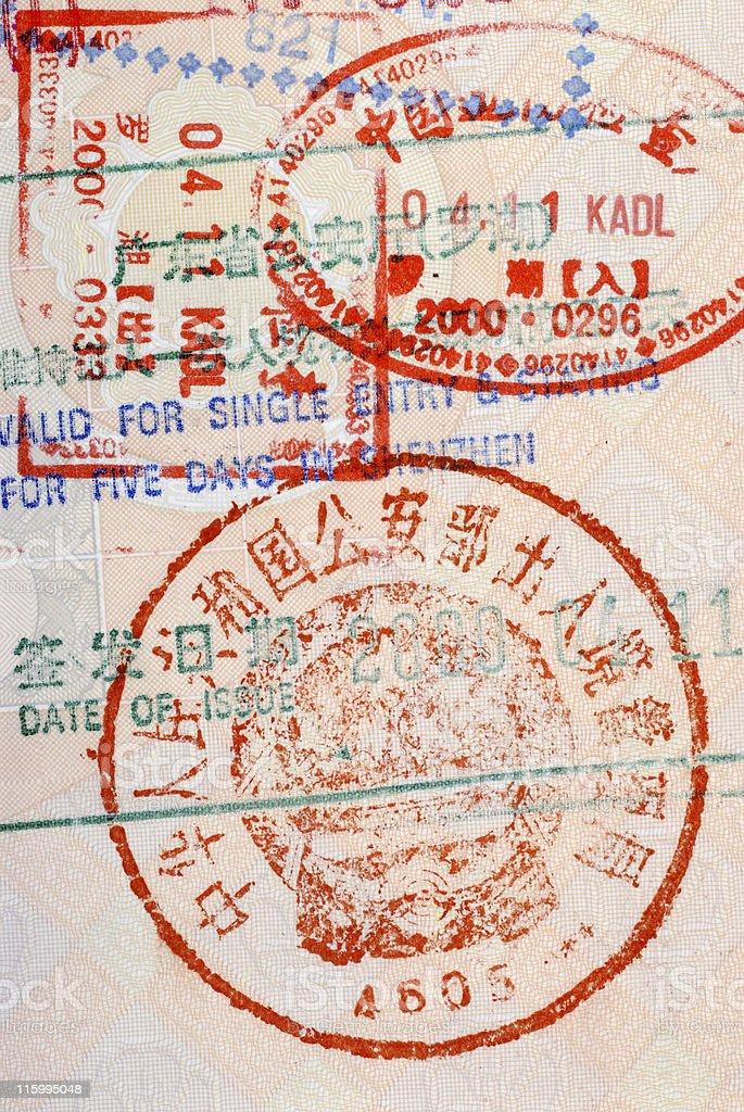 Chinese customs stamp stock photo