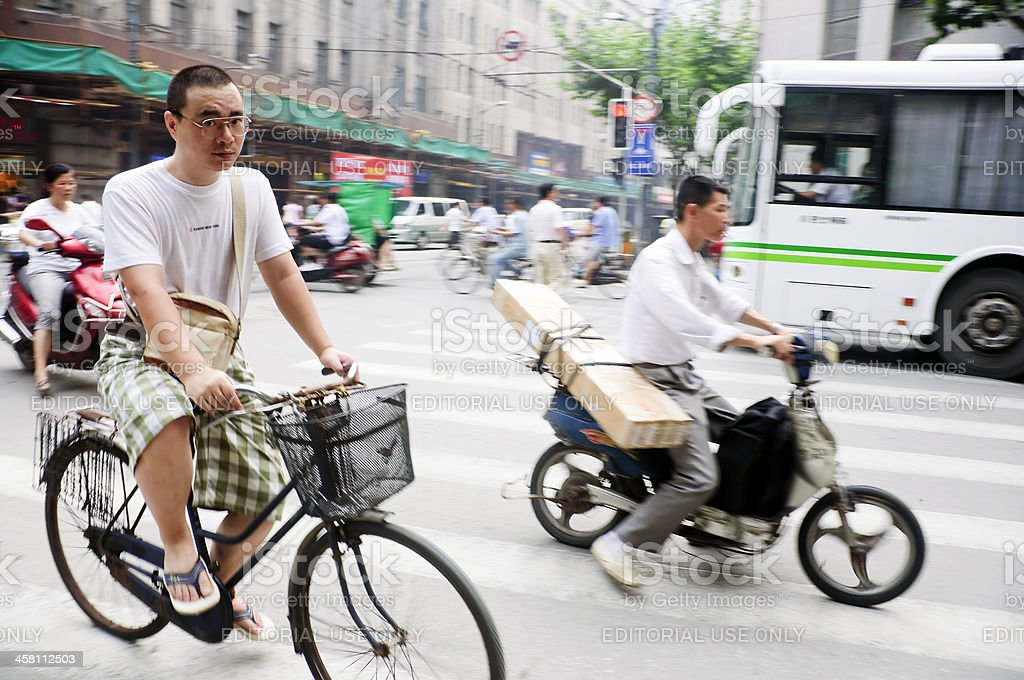 Chinese Cyclists royalty-free stock photo