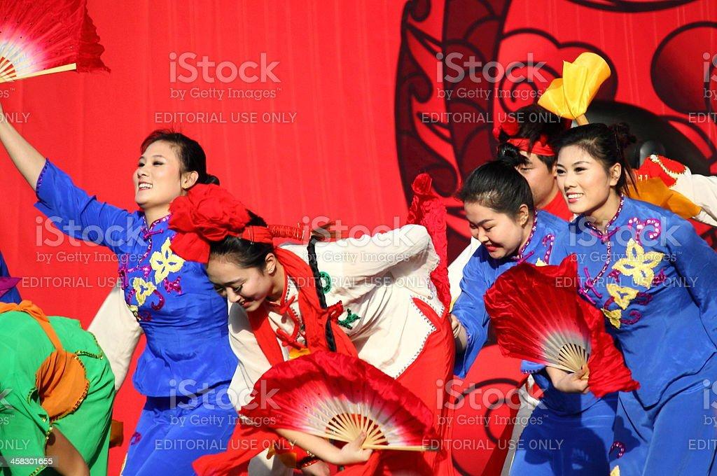 Chinese dancers at New Year Parade royalty-free stock photo