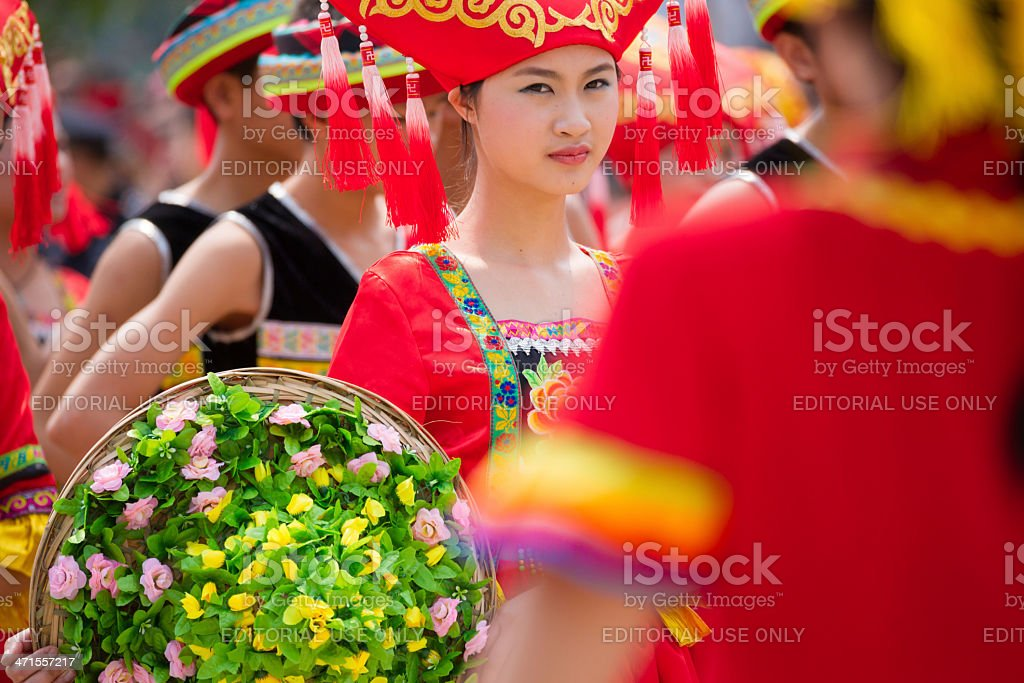 Chinese dancing girl in Zhuang ethnic Festival royalty-free stock photo
