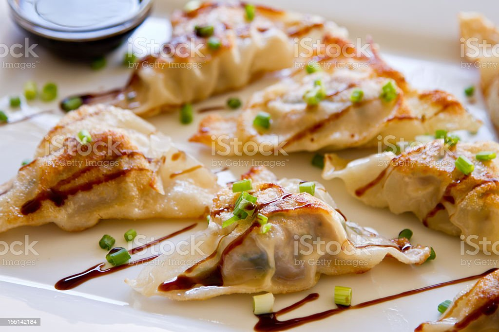 Chinese Dim Sum Dumplings on plate stock photo