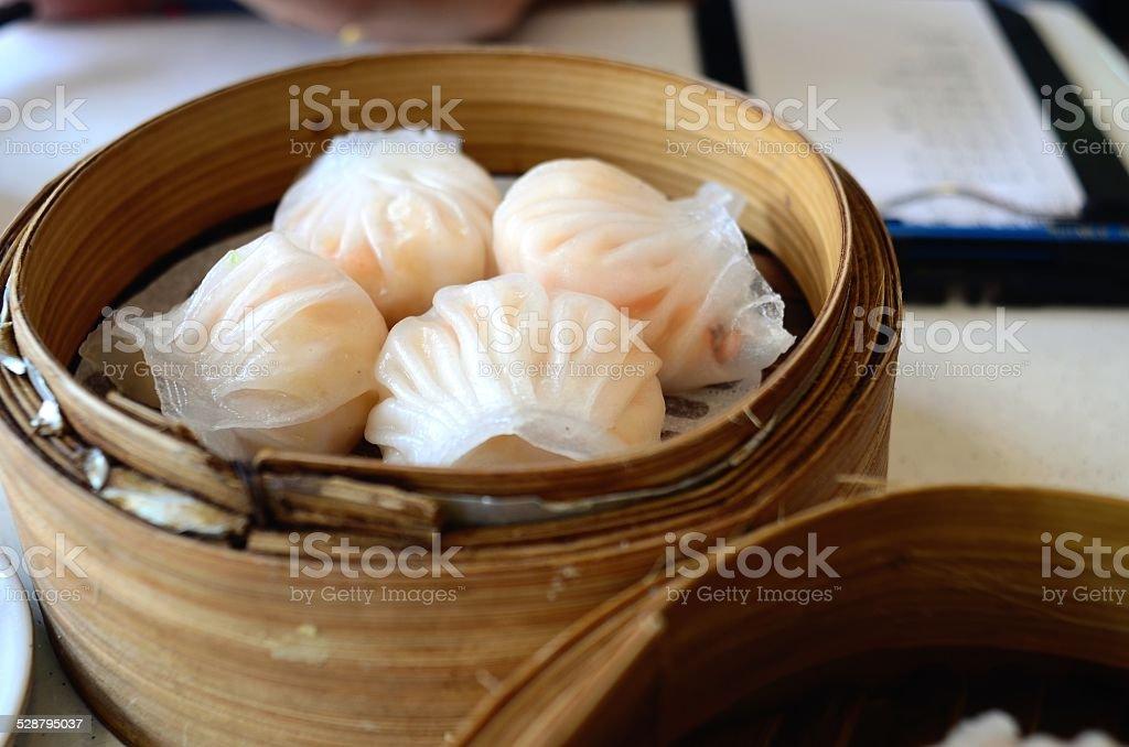 Chinese dim sum Hagao in bamboo basket stock photo
