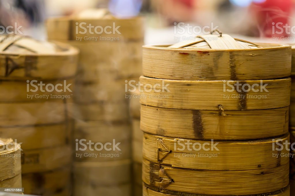 chinese dim sum in bamboo basket stock photo