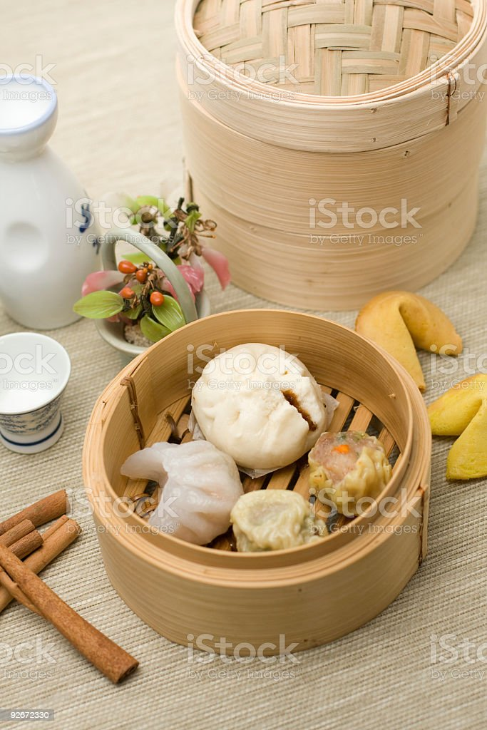 chinese Dimsum mix in bamboo basket stock photo