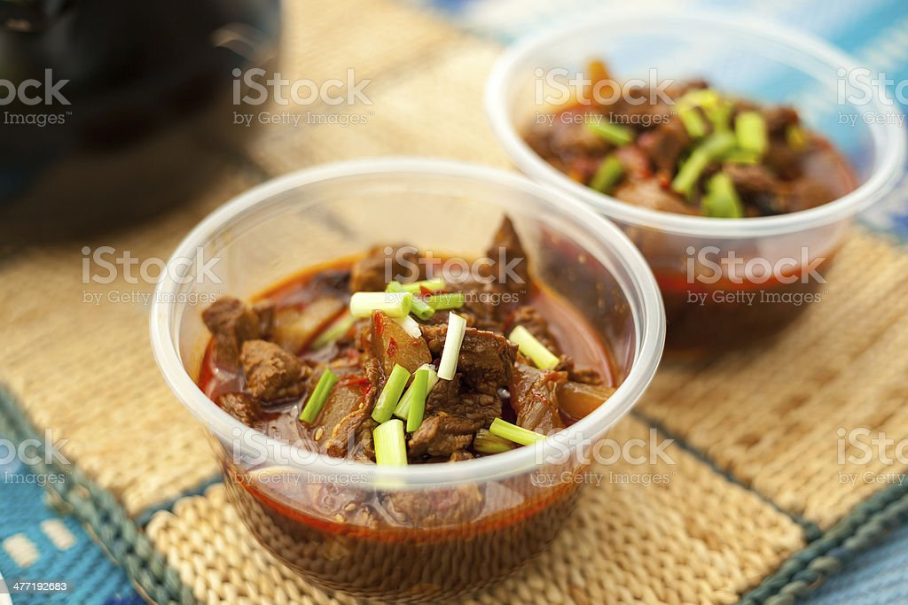 Chinese dinner, braised beef with carrots stock photo