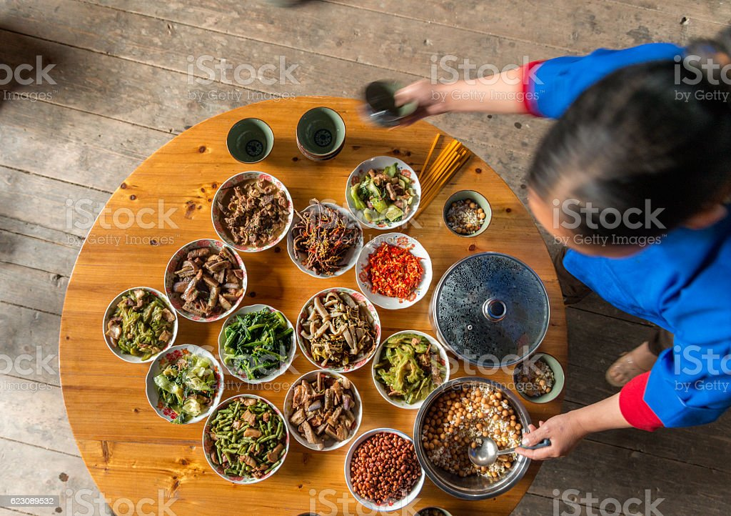 Chinese dinner ready at home, high angle view stock photo