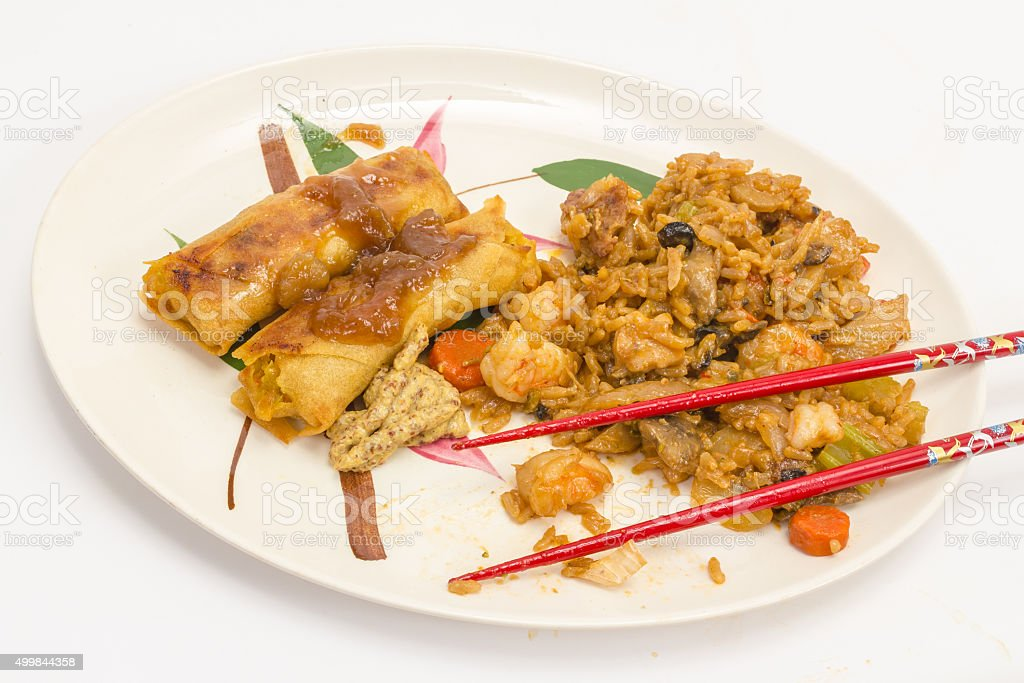 Chinese Dinner with Red Chopsticks stock photo