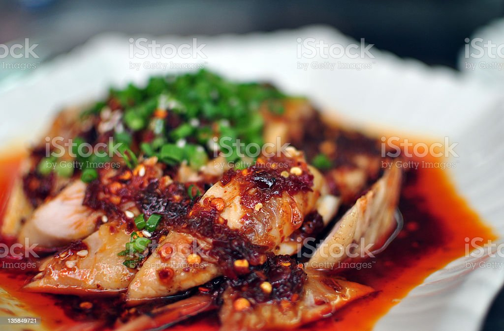 Chinese dish - chicken with spicy sauce stock photo