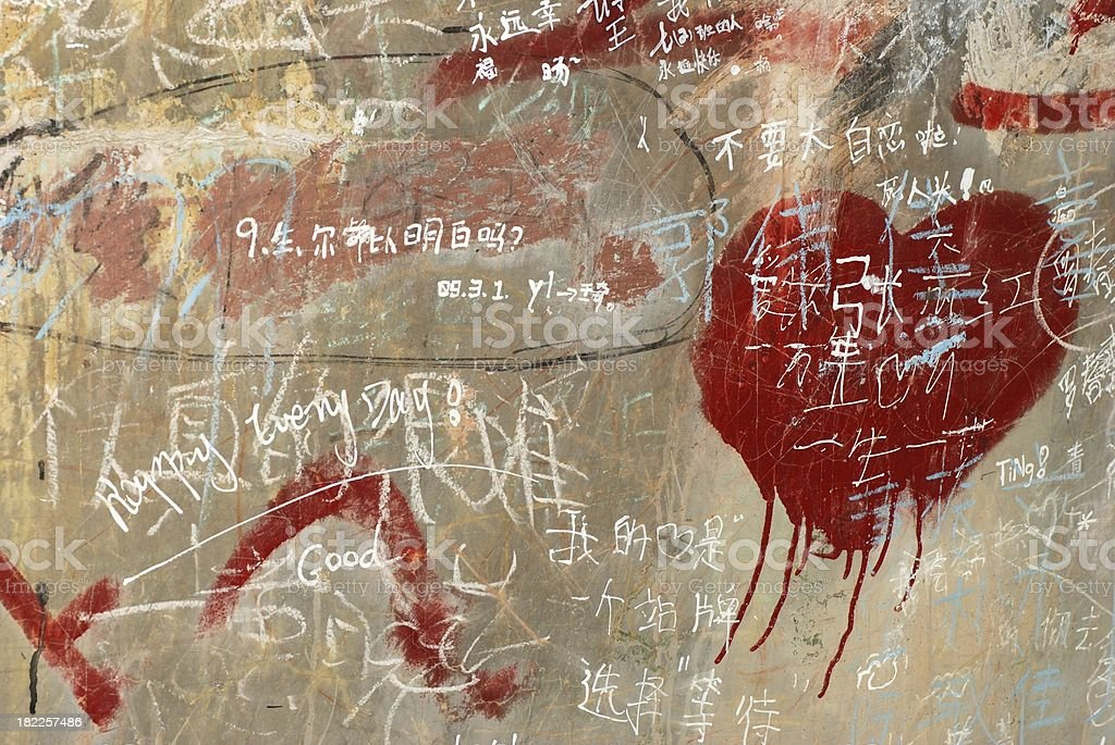 chinese doodle on wall  board background stock photo