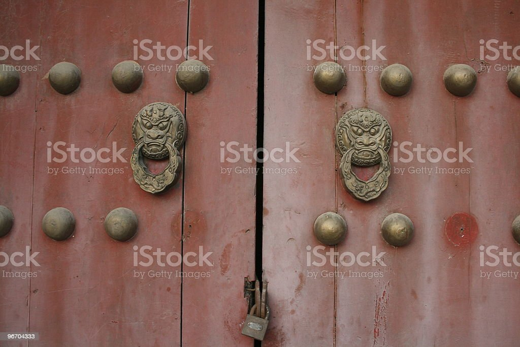 Chinese door and knocker royalty-free stock photo