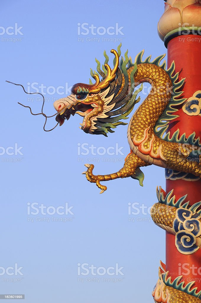 Chinese Dragon and blue Sky at China Temple Vertical royalty-free stock photo
