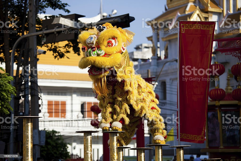 Chinese dragon dance at Chinese new year stock photo