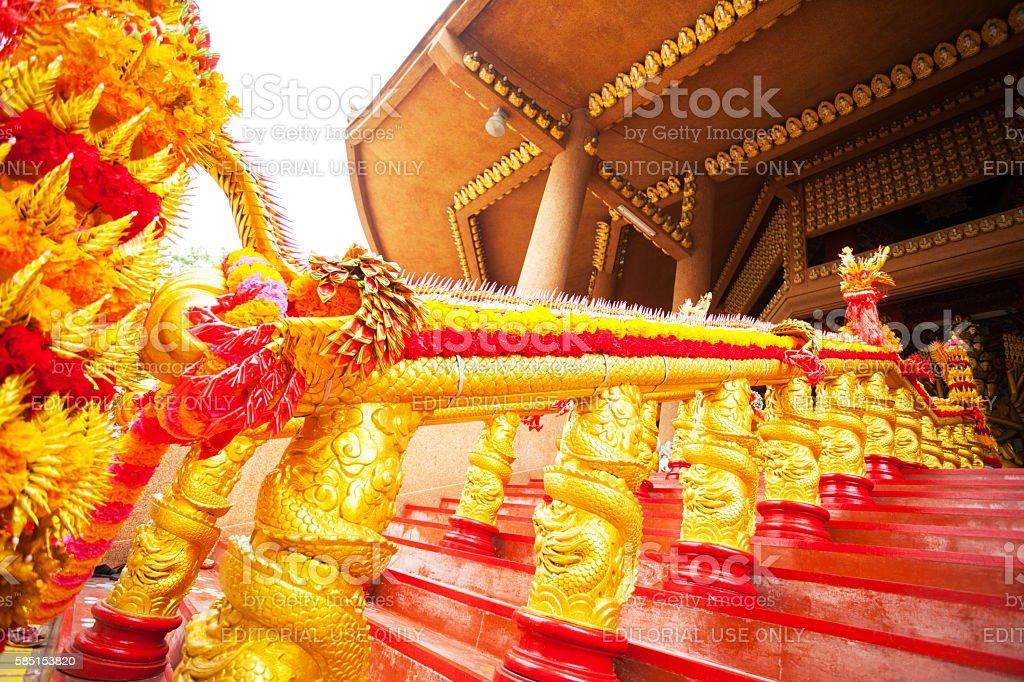 Chinese dragon decoration on handrail stock photo