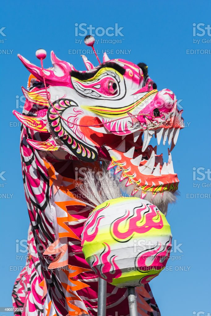 Chinese dragon during the Golden Dragon Parede. stock photo