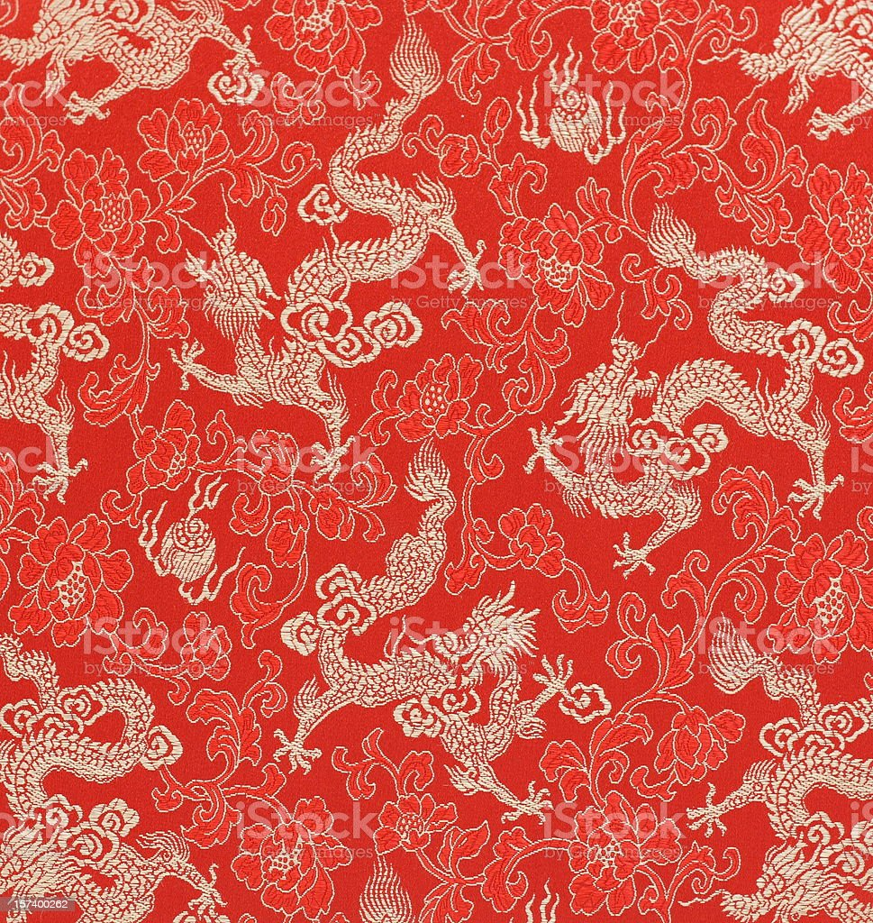 Chinese Dragon Fabric Embroidery stock photo
