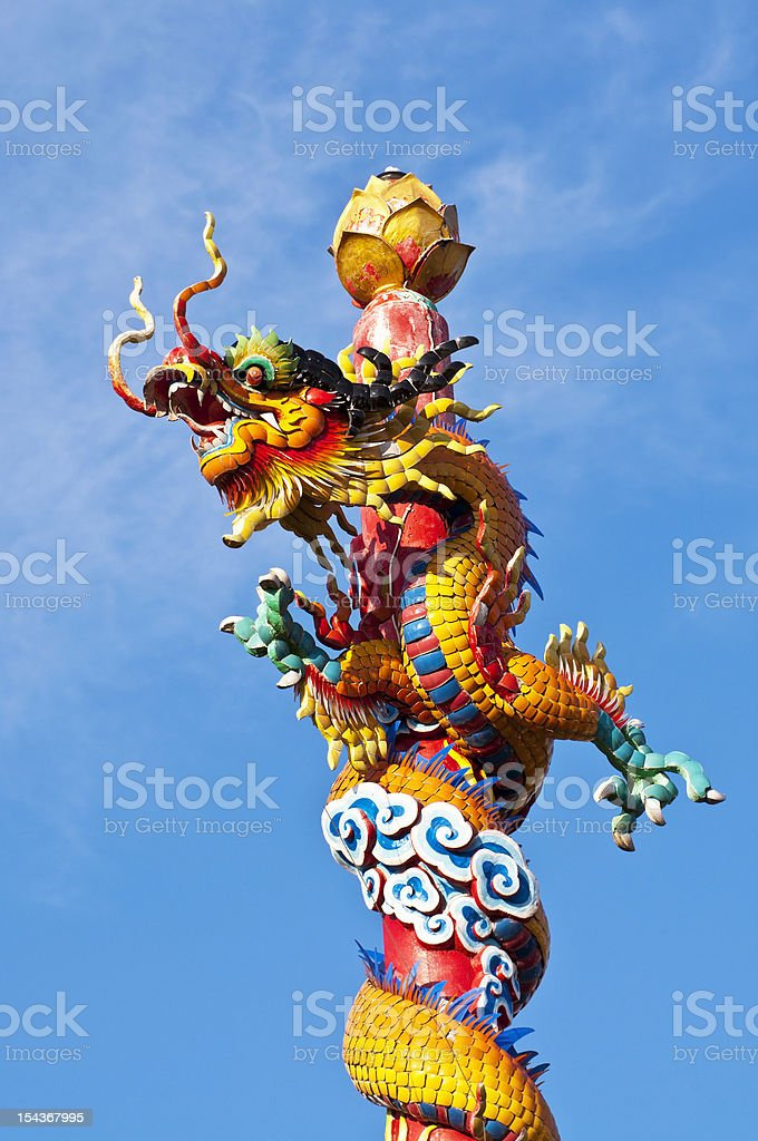 Chinese Dragon in Temple stock photo