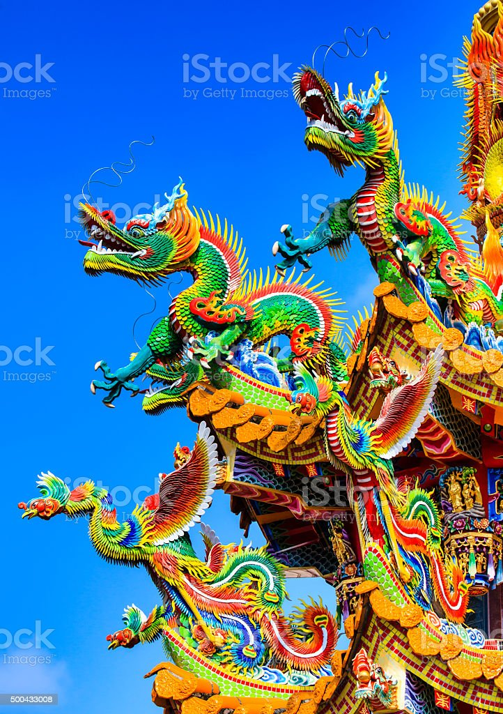 Chinese Dragon in Temple. stock photo