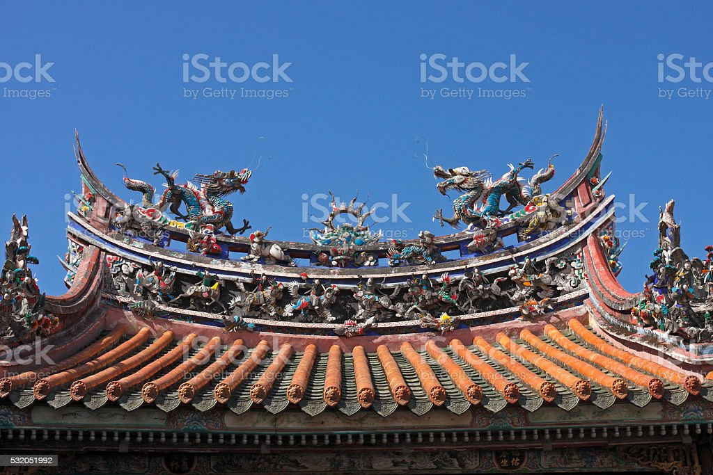 Chinese Dragon on Asian Temple Roof stock photo