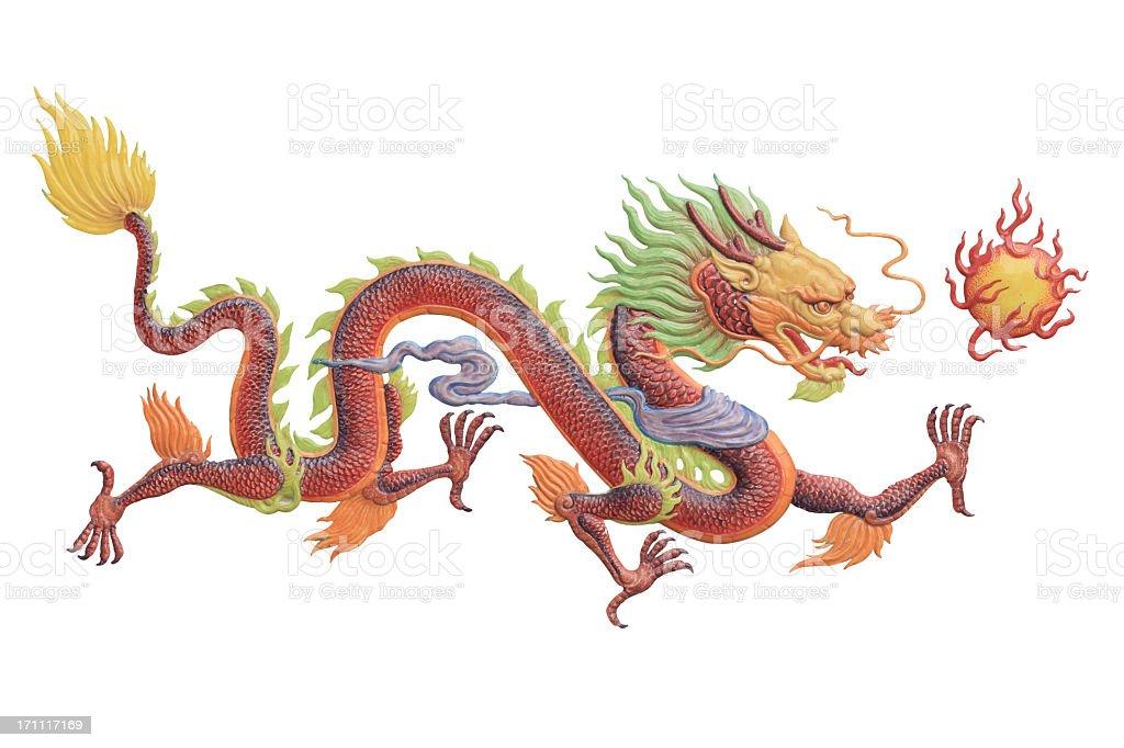 Chinese dragon painting stock photo