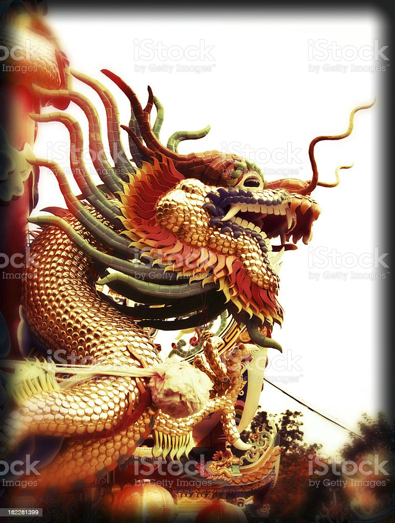 Chinese Dragon Pictures Black retro style. royalty-free stock photo