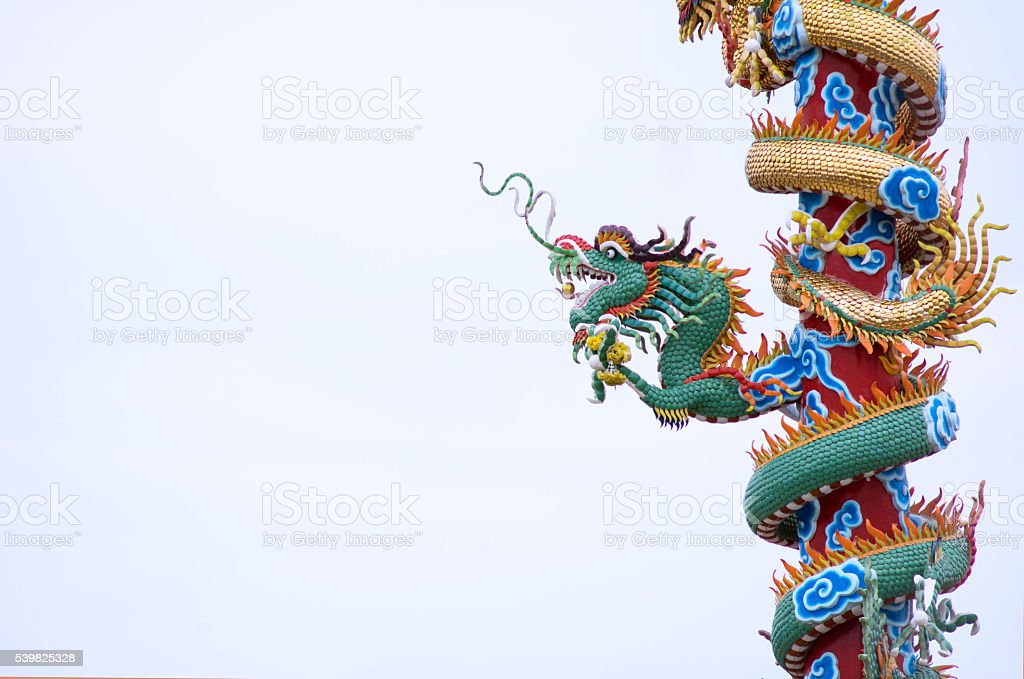 Chinese Dragon Pole stock photo