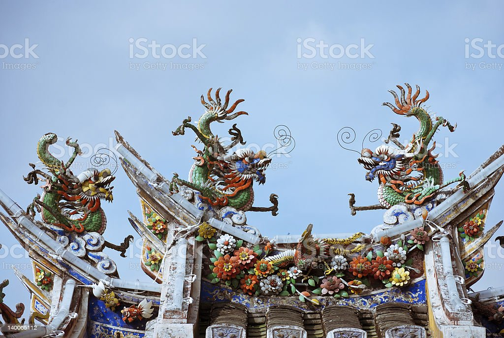 Chinese dragon roof ornaments stock photo