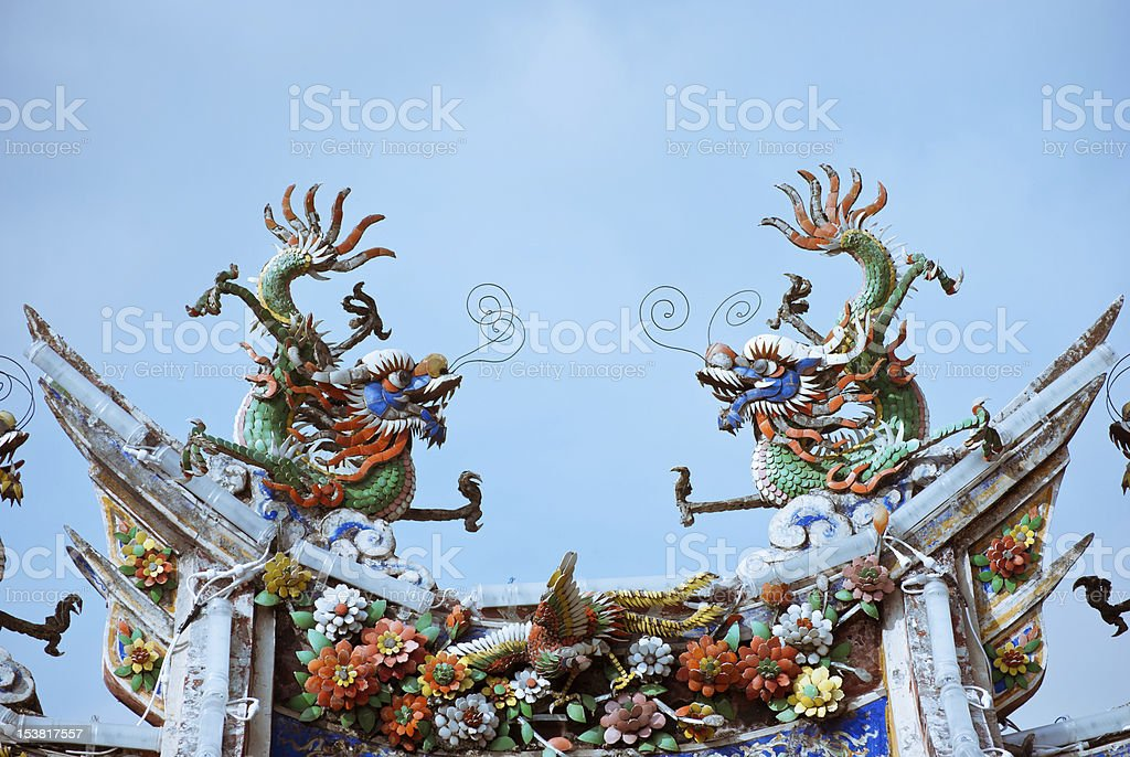 Chinese dragon roof ornaments royalty-free stock photo