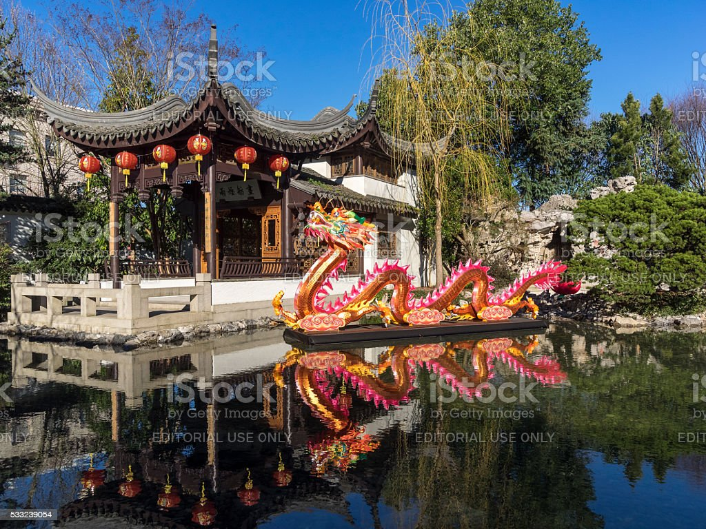 Chinese Dragon Sculpture Lantern Lan Su Chinese Garden Portland Oregon stock photo