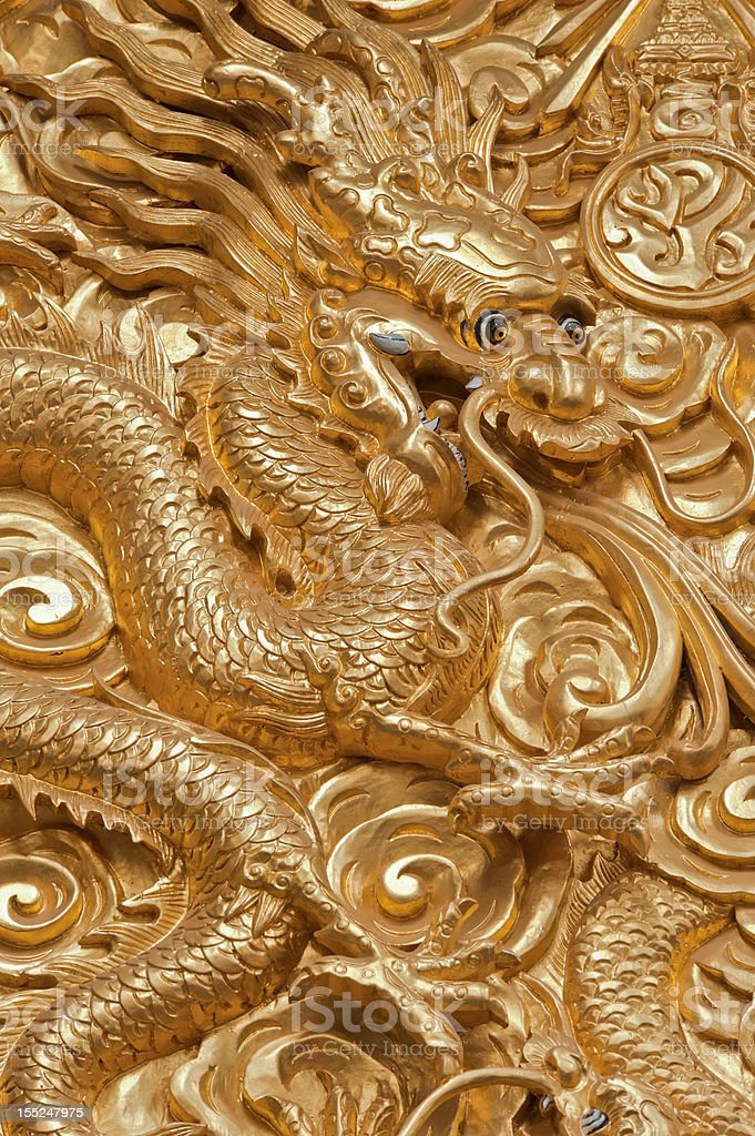 Chinese Dragon sculpture. stock photo
