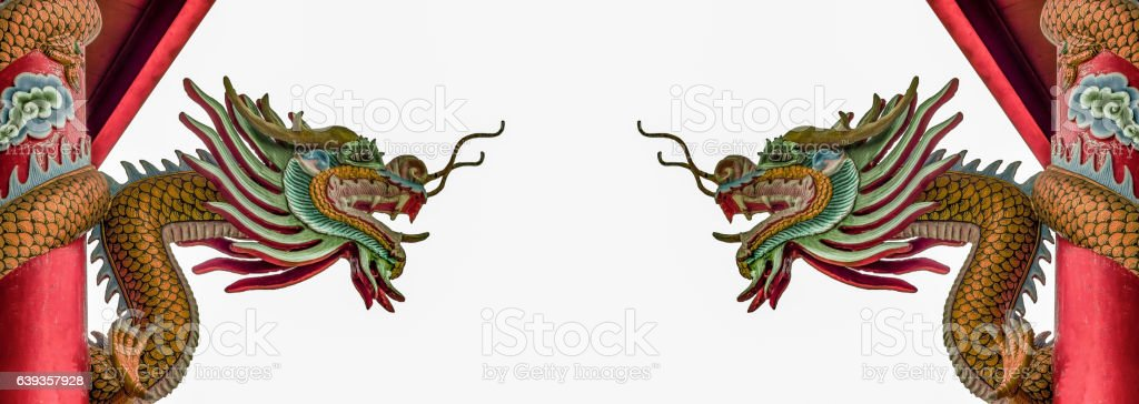 Chinese Dragon Sculptures in Panorama stock photo