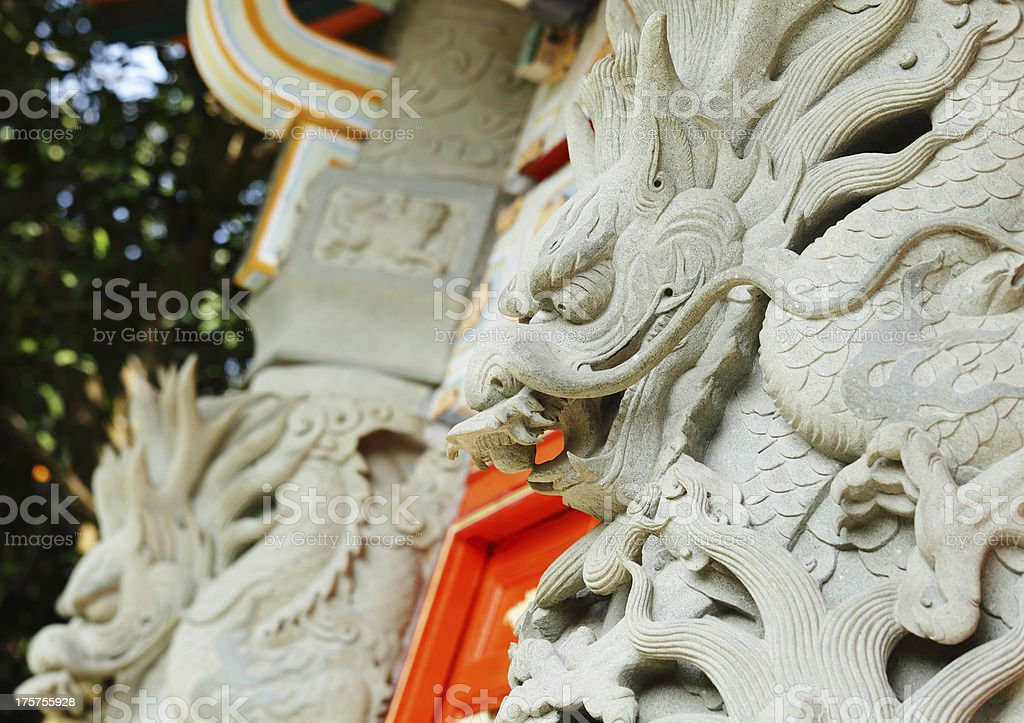 chinese dragon statue in temple stock photo