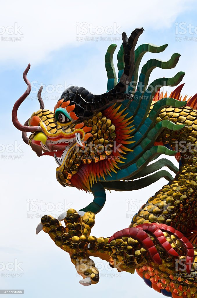 chinese dragon stucco stock photo