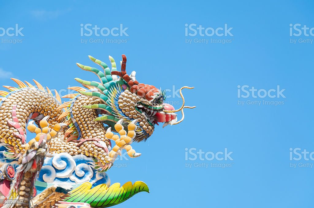 Chinese dragon with blue sky stock photo