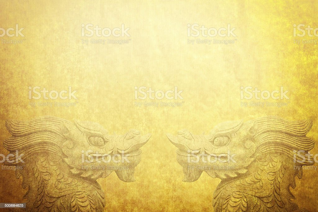 Chinese Dragons on Antique Paper stock photo