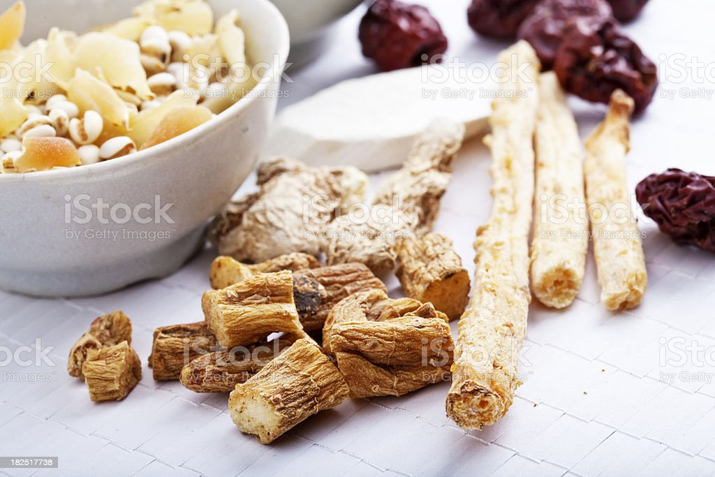 chinese dried ingredient for chicken soup stock photo
