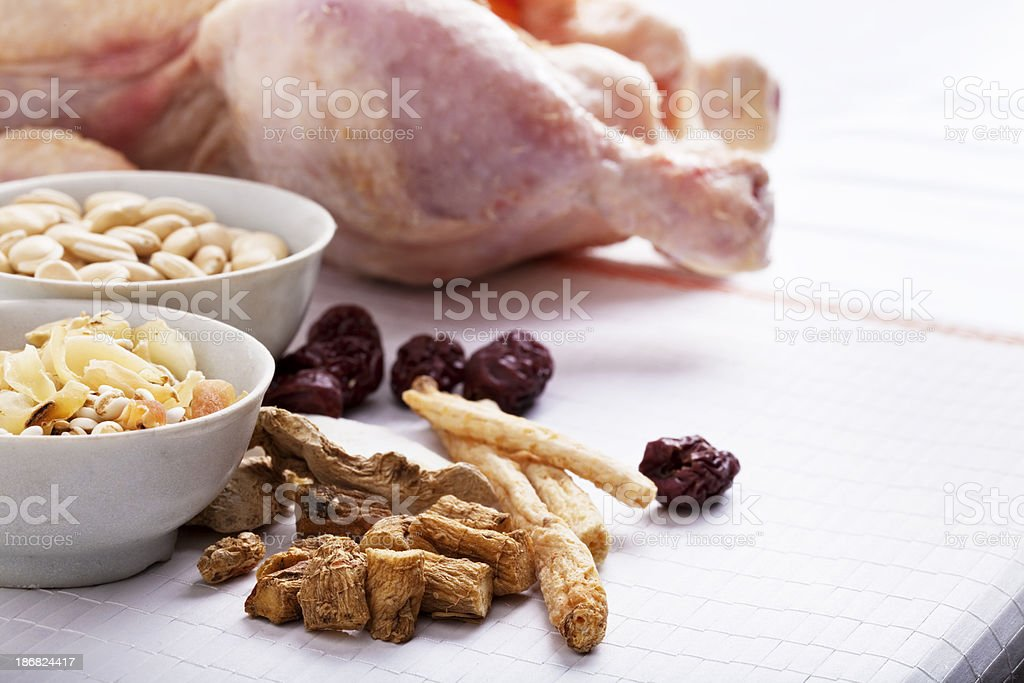 chinese dried ingredient for chicken soup royalty-free stock photo