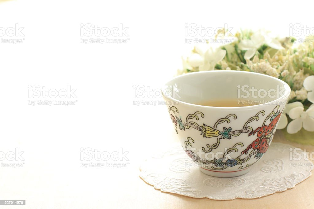 chinese drink, jasmine tea with flower stock photo