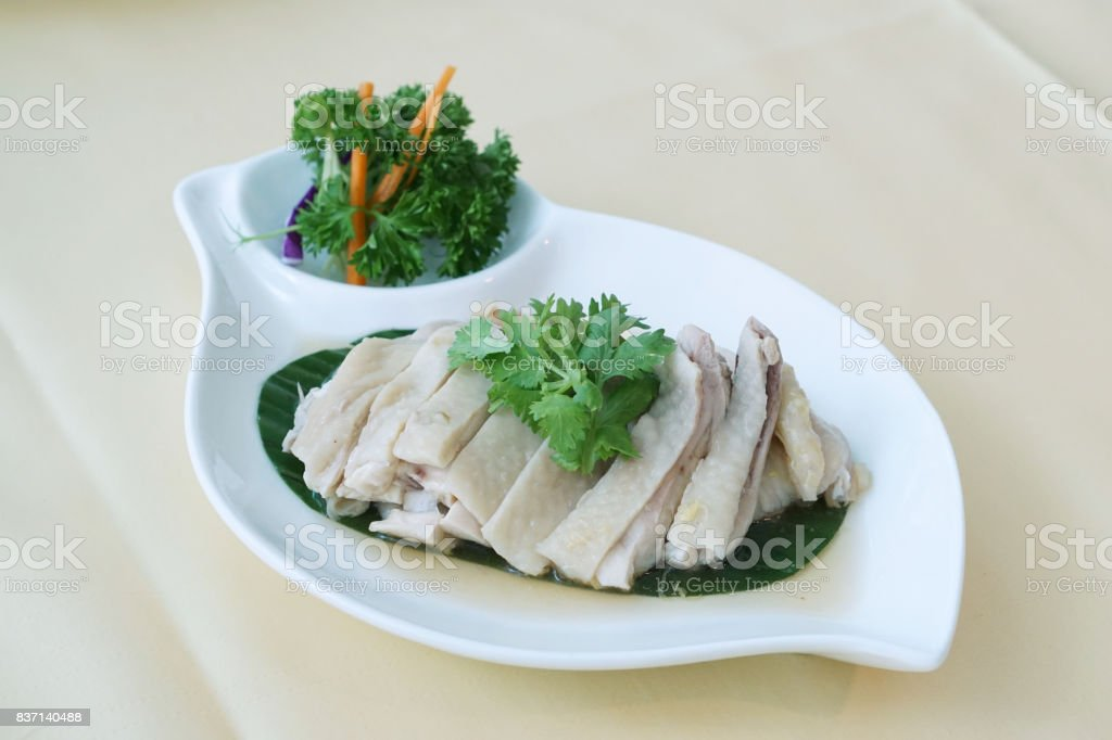 Chinese drunken chicken - After steamed chicken it is marinated in Chinese liquor, sherry or whiskey, overnight in the refrigerator.The chicken is served chilled. stock photo