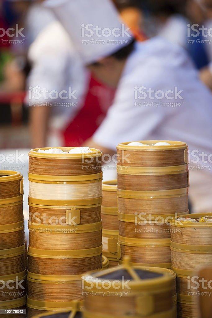 Chinese dumpling steamers in Bangkok Chinatown royalty-free stock photo