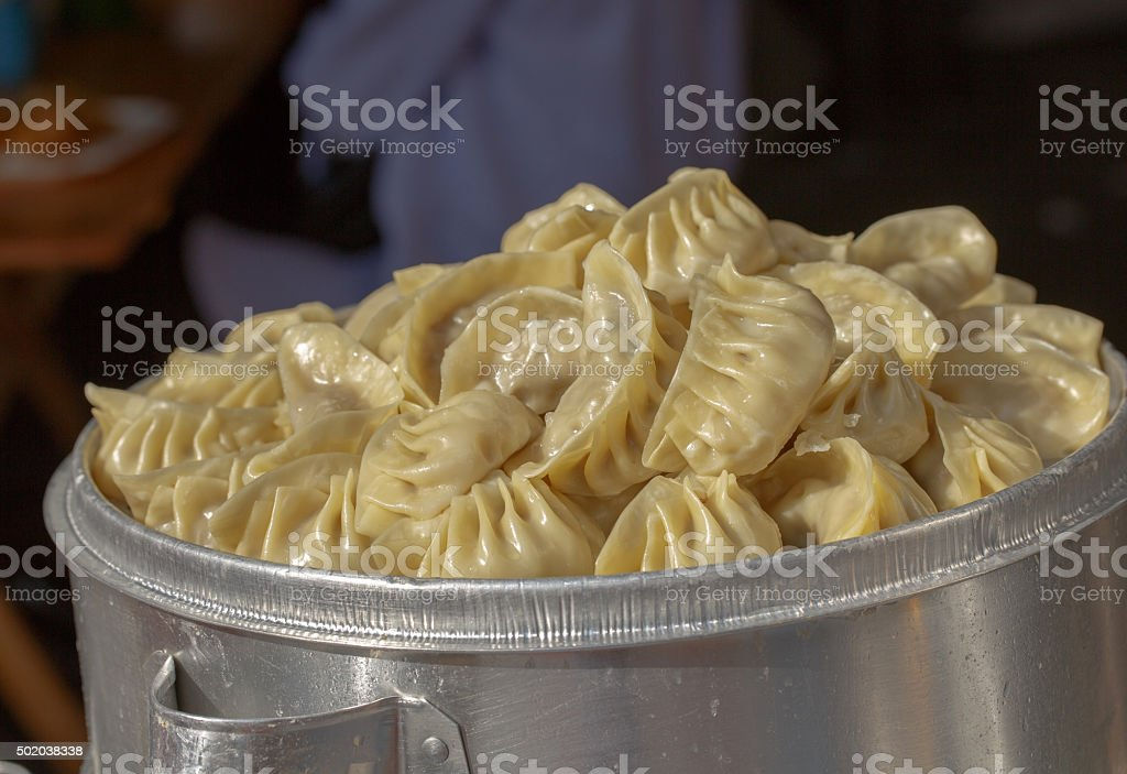 Chinese dumplings stacked steamer stock photo
