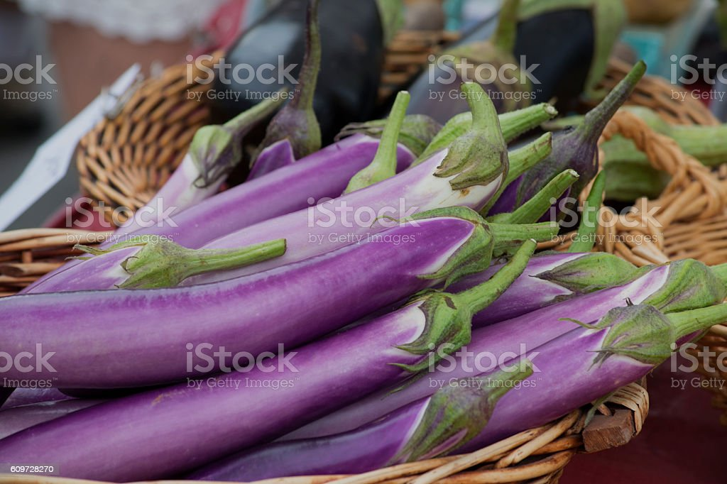 Chinese eggplant for sale stock photo