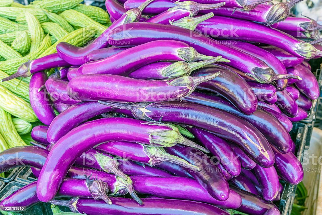 Chinese eggplant seen closeup stock photo