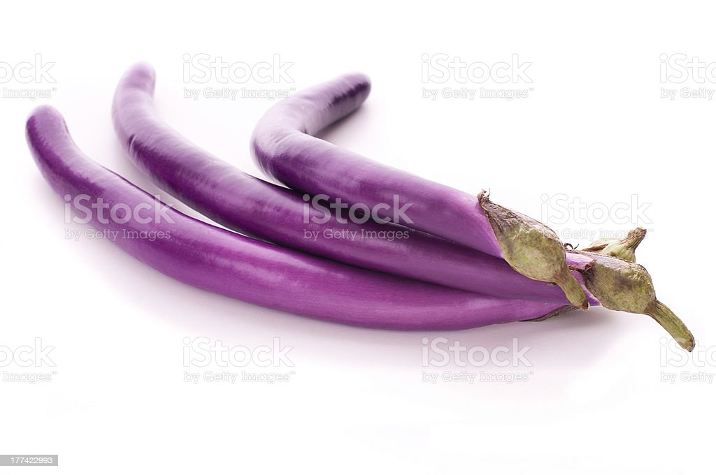 Chinese eggplants on a white background stock photo